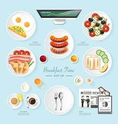 Infographic food business breakfast flat lay idea vector image