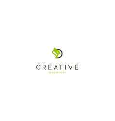 Letter d leaf naturally creative business logo vector