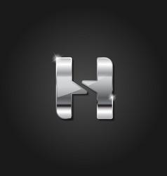 letter h shiny silver metallic logo vector image