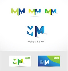 Letter M logo 3d icon set vector image