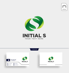 Letter s leaf initial logo template icon element vector
