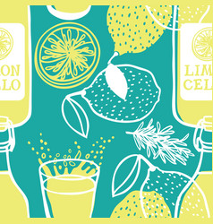 Limoncello italian traditional drink pattern vector