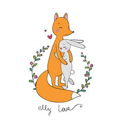 Lovely cartoon fox and hare happy animals vector