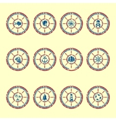 Marine symbols grunge vector image