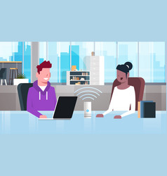 mix race people sitting at workplace desk man vector image