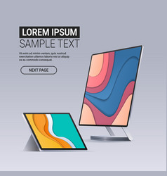 modern computer monitor and tablet with colored vector image