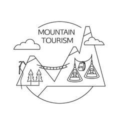 Mountain tourism outline background minimalistic vector