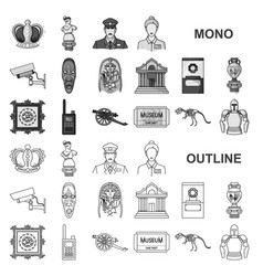Museum and gallery monochrom icons in set vector