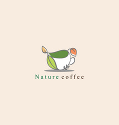 nature coffee shop logo design concept vector image