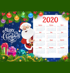 New year calendar with christmas gifts and santa vector