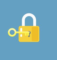 Padlock with key sign unlocking access password vector