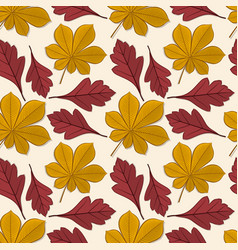 pattern with chestnut and hawthorn autumn leaves vector image