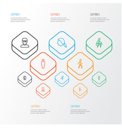 People outline icons set collection of head man vector