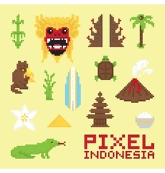 Pixel art Indonesia isolated objects vector