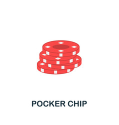 Pocker chip icon flat sign element from table vector