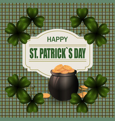 pot with gold coins and clover image in the vector image vector image