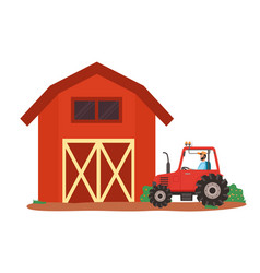 ranch and tractor rural area countryside vector image