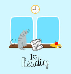 reading concept with cute cat and books vector image