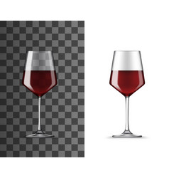 Red wine glass realistic mockup vector