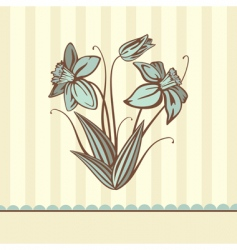 retro card illustration with flowers vector image vector image