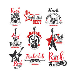 rock club logo design set label for music vector image