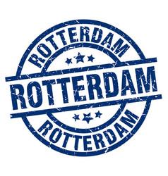 Rotterdam blue round grunge stamp vector