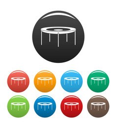 Round trampoline icons set color vector