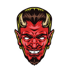 scary red devil head with horns vector image