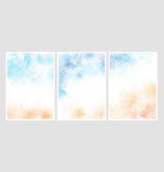 sea blue sky and sand beach watercolor background vector image