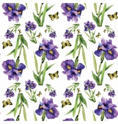 Seamless pattern with watercolor irises vector image