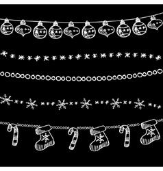 set christmas chalk doodle garlands dividers vector image