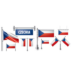 set national flag czechia in vector image