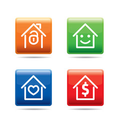 Set of color house buttons vector