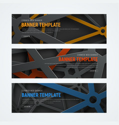 Set of horizontal web banners with intersecting vector