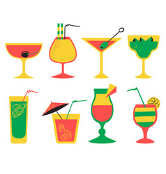 Set with alcohol cocktails flat cartoon style vector