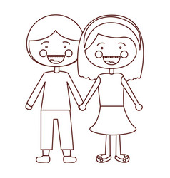 Sketch contour smile expression cartoon couple in vector