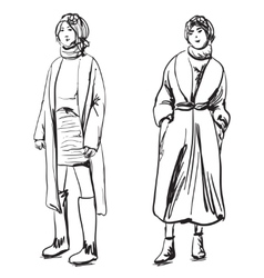 Sketch of woman wearing coat Winter clothes vector