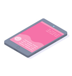 smartphone with pink screen and text messaging vector image