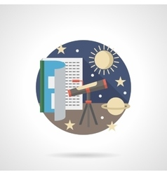 Space research detailed flat color icon vector image