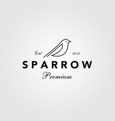 sparrow bird logo hipster vintage retro line vector image