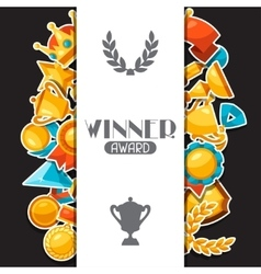 Sport or business award sticker icons background vector