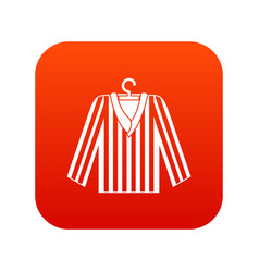 Striped pajama shirt icon digital red vector