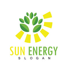 sun leaf energy logo vector image