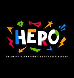super hero style comics font vector image
