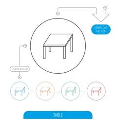 Table icon Furniture desk sign vector image