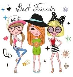 Three Cute girls vector