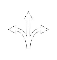 Three-way direction arrow sign black vector