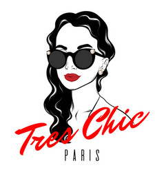 Tres chic paris hand drawn girl vector