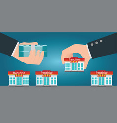 two human hands changing money for small store or vector image