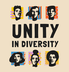 Unity in diversity pop style poster vector